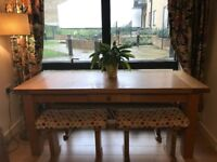 (l) 183 x (w) 70cm x (h) 78cm solid wooden table with bench chairs
