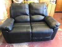 Leather type recliner 2 seater sofa and recliner chair to match