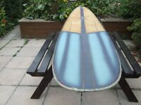 Longboard surfboard 9ft 2 well used but repaired and water tight