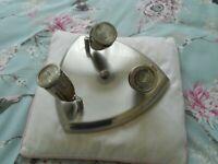 Spotlight light fitting; brushed steel, flush, shield-shaped design