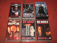 6 VHS Video Tapes Die Hard, Terminator, The Rock, The Matrix, Sci-Fi Action 80s 90s, Good Condition