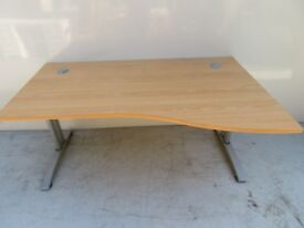 Office Desk - Right Handed Wavey - Good Condition - Matching Drawers Available
