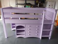 Cabin single bed with tuck-away desk/dressing table, drawer unit and shelf unit