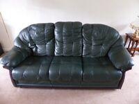 Dark Green Leather Three Piece Suite