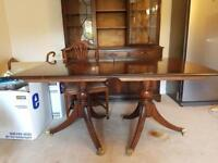 Extendable Dining Table, 6 chairs and matching cabinet
