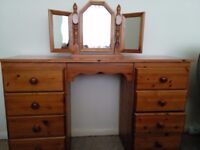 Dressing Table and Vanity Mirror (Country Pine)