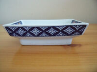 Oblong Oriental blue & white with orange/yellow flowers dish. Excellent condition.