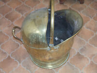 LARGE SOLID BRASS, HELMET COAL SCUTTLE