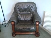 3-PIECE SUITE. GREEN LEATHER ON WOODEN FRAME. GOOD CONDITION. DELIVER WITHIN REASONABLE DISTANCE.