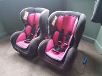 Used Kiddicare Shuffle SP Group 0 1 Car Seat Honeyblossom Pink (set of 2)