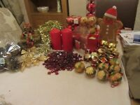 Collection of Christmas decorations, baubles, candles, cones bows & drums
