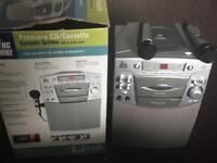 New Cond Boxed Karaoke Machine System smg-190 the singing cd tape aux 2 x microphone speaker party