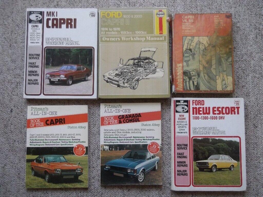 6 Ford workshop manuals - Capri, Escort Granada and Consul