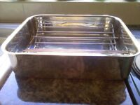 Large Jean Patrique Professional Stainless Steel Roasting Tin and Adjustable draining rack