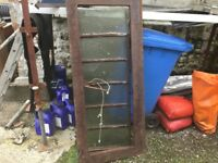"""ORIGINAL ANTIQUE/VINTAGE cast iron skylight, 61.5 by 26"""". Crack on frame but great garden feature."""