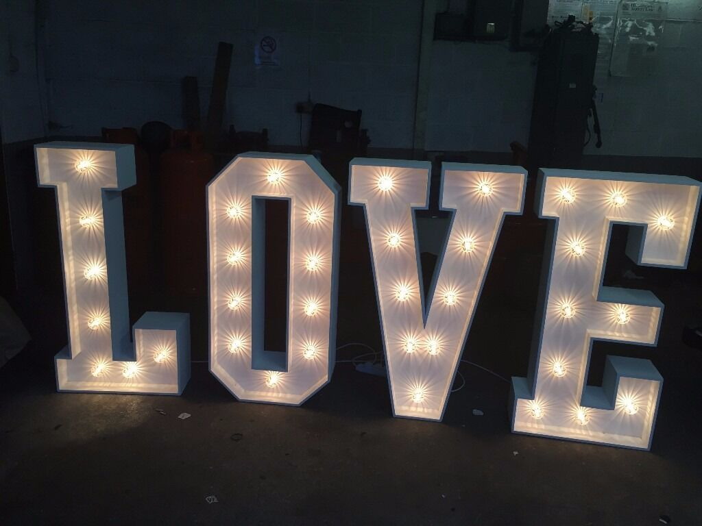 Light up 39love39 letters for hire gbp99 giant love letters for Light letters for sale