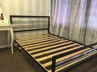Metal Black and Chrome / Silver Double Bed Frame