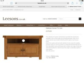 Solid Oak corner TV Unit