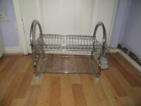 dish drainer, two layer metal dish drainer rack as shown
