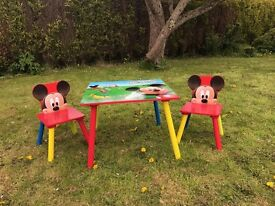 Disney Mickey Mouse wooden clubhouse table and chairs