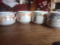 4 Retro soup mugs for sale