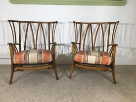 Retro Armchairs Wood Frame Pair Of Chairs - Priory In Ercol Style Teak Vintage