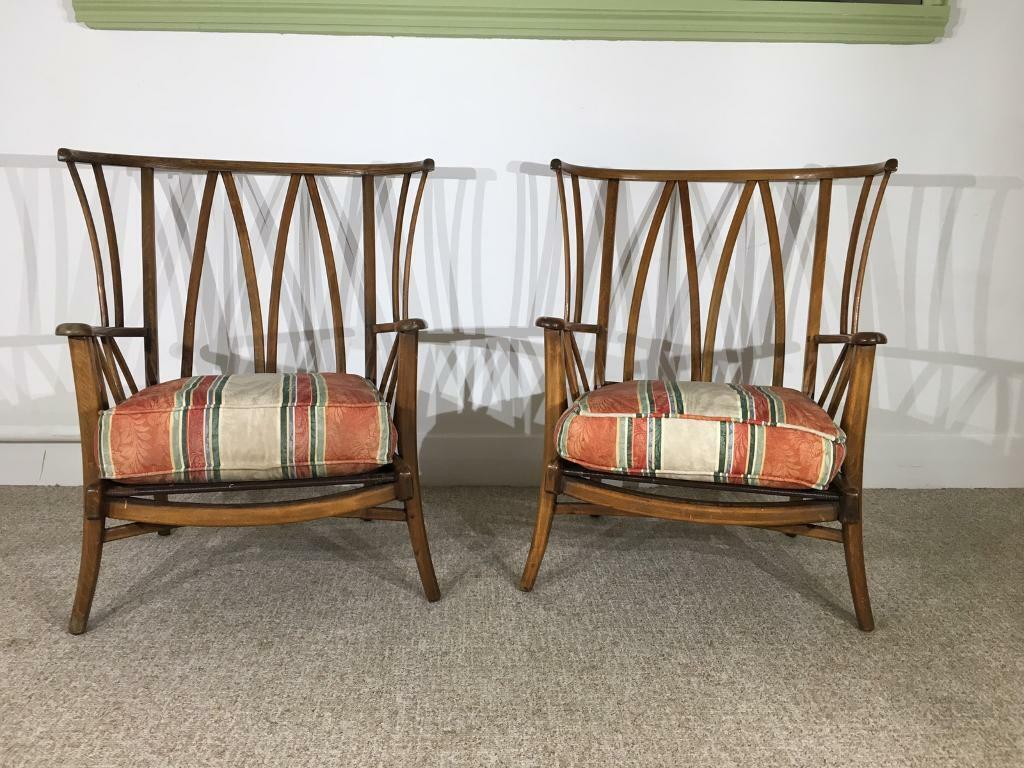retro armchairs wood frame pair of chairs priory in ercol style