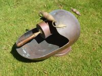 Copper Coal or Log Scuttle - Classic Fireman's Helmet Design with Copper Scoop