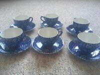 Burleigh Blue Tea cups and saucers x6
