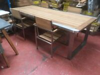 STAINLESS STEEL SOLID WOOD TABLE AND 4 CHAIRS