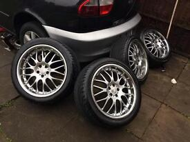18 inc deep dish alloys with tyres 5/100 fiting