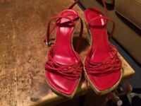 River Island red strappy cork wedges