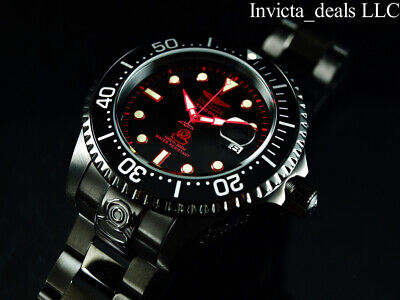 Invicta Men 47mm GRAND DIVER AUTOMATIC COMBAT Triple Black Red Accents SS Watch