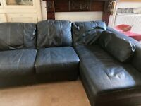 100% leather and solid wood corner sofa