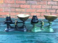 2 SETS OF ANTIQUE SALTER SCALES WITH WEIGHTS