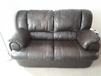 LEATHER SOFA 2 SEATER CHOCOLATE BROWN