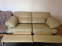 Two seater leather recliner