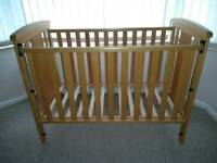 Dropside wooden cot