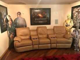 Leather 3 Seater Cinema Sofa, Recliner, Drinks Holder and storage spaces, Tan Colour, Like new.