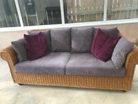 3 seater wicker sofa & chair