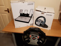 FANATEC STERRING WHEEL WITH PADDLES AND 3 PEDAL SET