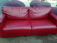 Leather bed settee, red