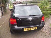 vw golf 1.6 petrol 2003 ,5 door,67000 miles