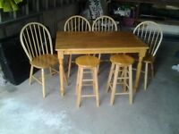 7 Piece Pine Kitchen Table & Chairs