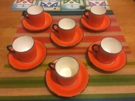 New Chelsea Coffee Cup and Saucer Set - Art Deco Retro