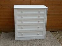 White 5 Drawer Chest of Drawers