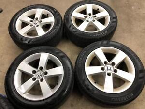 Used Honda Civic Alloy Wheels Tires $399 Cash Call 905 673 2828 No Bent No Crack 205/55R16 Tires Safety Pass 2006 - 2015