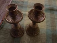 One pair of heavy brass bell candle sticks