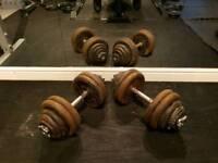 60kg total 2 x 30kg dumbells cast iron adjustable spinlock dumbbell weights