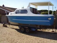 boat project 22' cabin / fishing boat just needs steering and outboard to complete